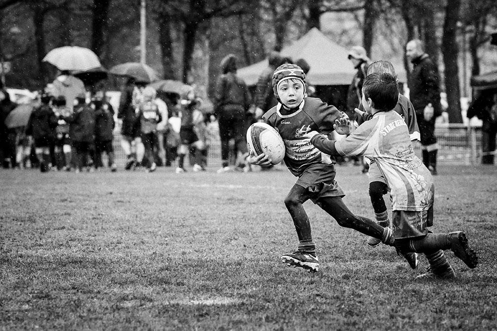 rugby pluie M8 RCC Cestas Biganos noir et blanc